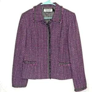 STUDIO TAHARI Blazer Tweed purple black Size 12